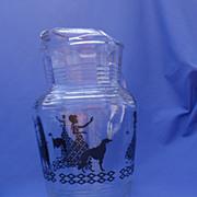 Borzoi & lady 1950s glass pitcher
