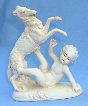 1920s playful bisque Borzoi & putti Germany
