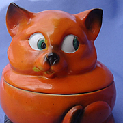 art deco orange Cat tobacco jar Germany 4""