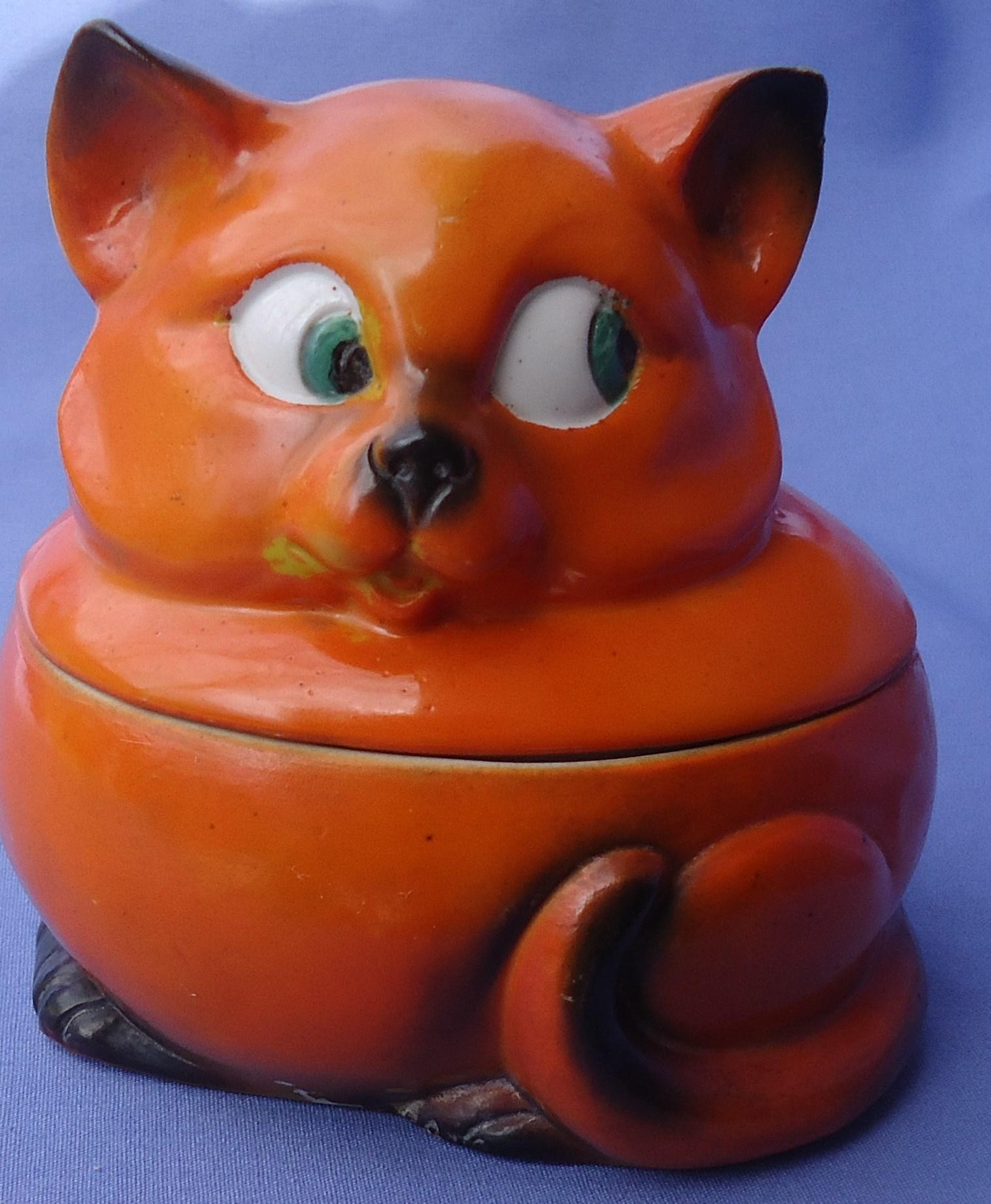 "art deco orange Cat tobacco jar Germany 4"""