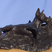 "bronze Doberman & terrier Chris Baldwin 9"" 1976"