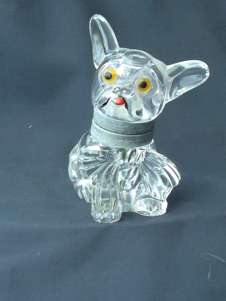 Czech deco glass inkwell French Bulldog 4""