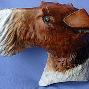 """1930s Wire Hair Fox Terrier Jack Russell dog 6"""" Crown Devon England"""