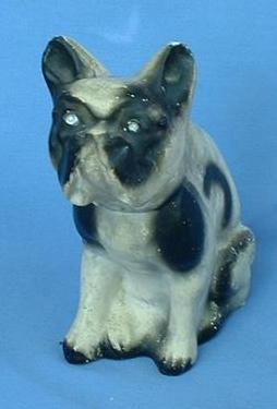 1930/40s carnival circus chalk dog FRENCH  ENGLISH BULLDOG 8""