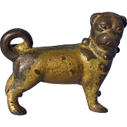 old cast iron PUG dog paper weight  3""