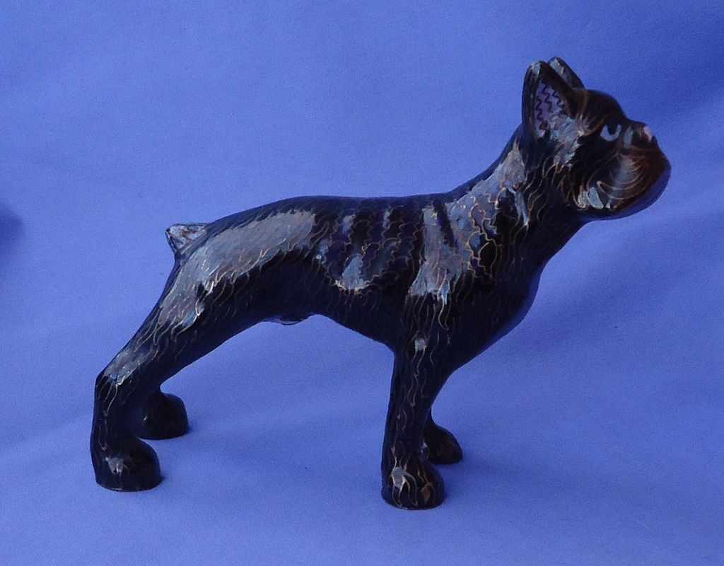 cloisonne Boston terrier Boxer dog 7""