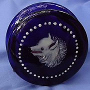 "Victorian enameled Spitz Samoyed Pomeranian dog cobalt blue dresser jar 4"""