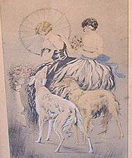 vintage hand colored Borzoi print 12""