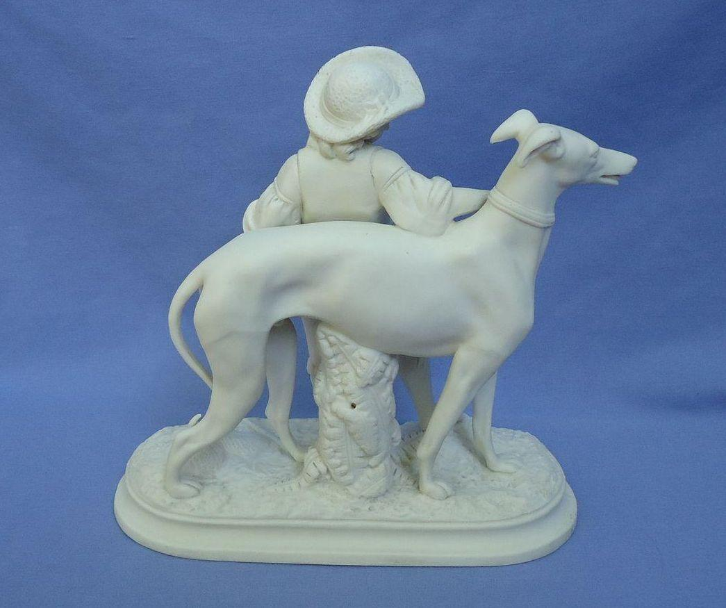 "antique Greyhound dog w boy Copeland England 7"""