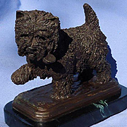 "bronze Cairn Norwich West Highland terrier Baldwin dog 6"" #11/50"
