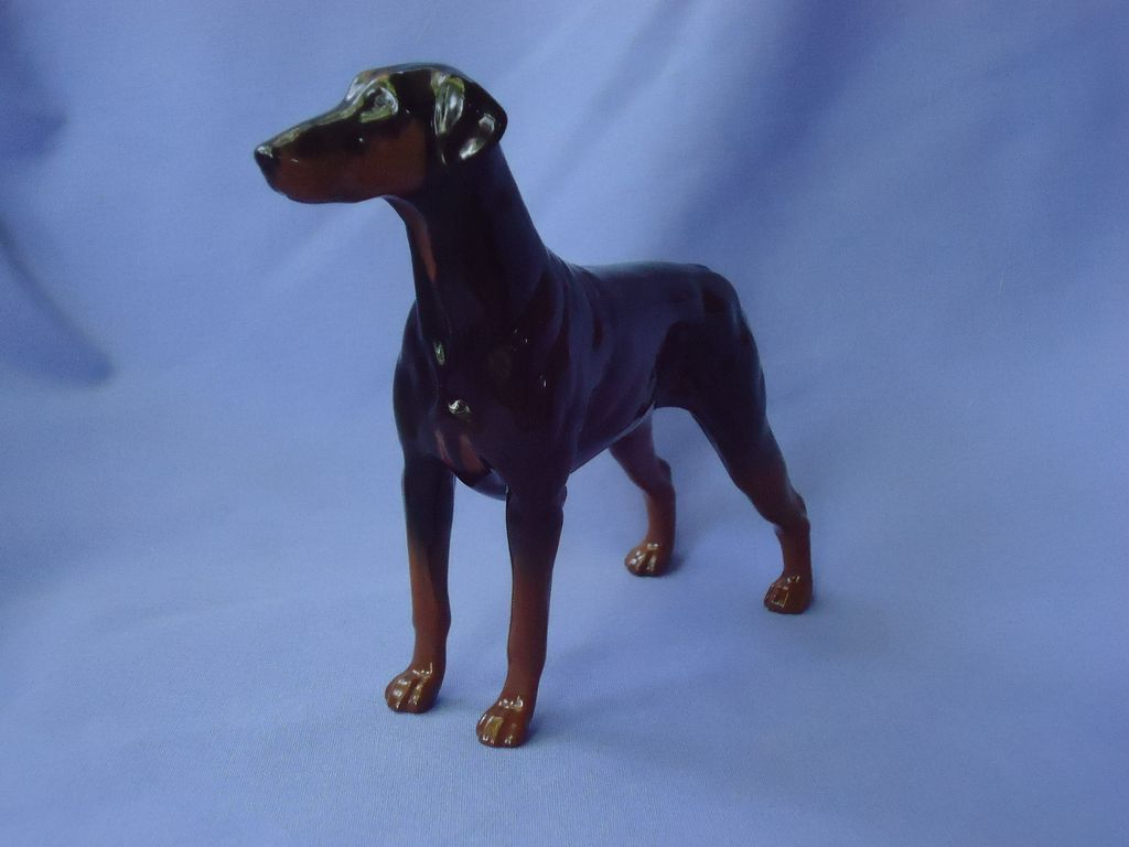 1990s Royal Doulton England Doberman Pinscher dog natural ears