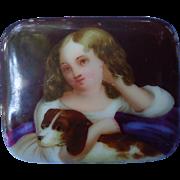 Cavalier King Charles Spaniel w Victorian girl porcelain cameo