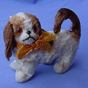 antique Cavalier King Charles Spaniel squeaker salon dog Germany label French fashion doll