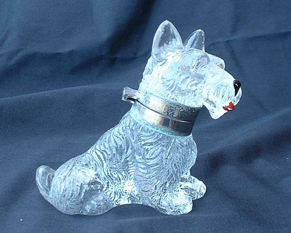 Czech deco Scottish terrier Scotty dog glass inkwell marked