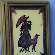 art deco box reverse painted  Lady & Borzoi w mirror