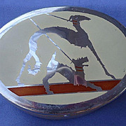 art deco trinket box Borzoi & fox terrier