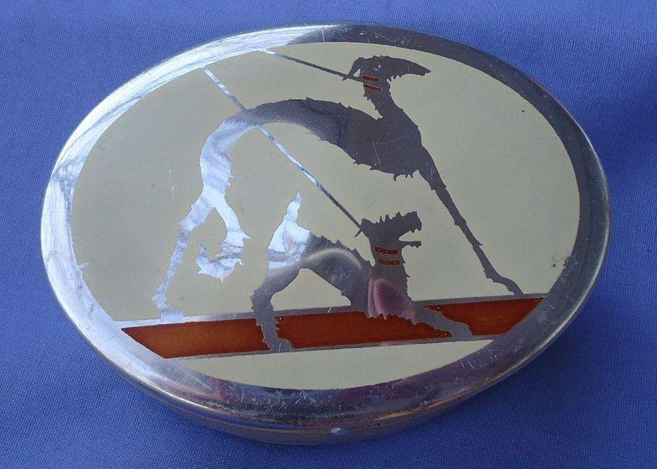 art deco trinket box  Saluki Borzoi & Fox terrier Schnauzer dog