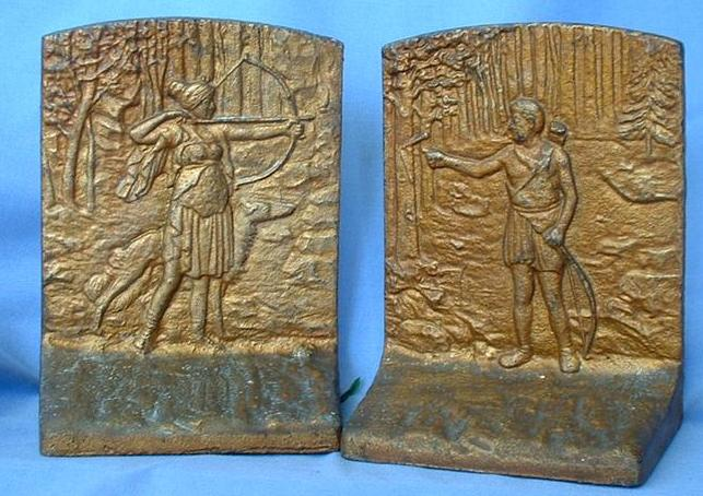 art deco bronze cast iron Judd bookends Diana Borzoi