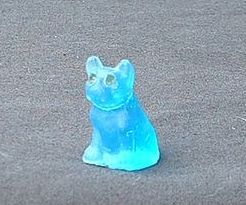 Czech deco blue frosted  French Bulldog Boston Terrier