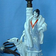 art deco luster lady lamp & borzoi Germany 8""