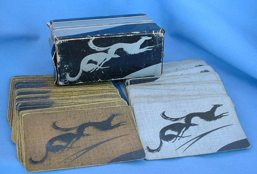 art deco double deck BORZOI/Saluki  original box Gibson