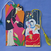 Art Deco man  & couple Bridge score cards 6""