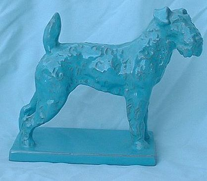 terracotta art deco turq color Airedale Schnauzer Fox Terrier dog Italy 8""