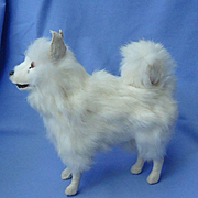 antique Spitz Samoyed fur toy  dog growler Germany French fashion doll 7""