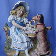 """11"""" Victorian figurine girl w Dachshund Blood hound"""