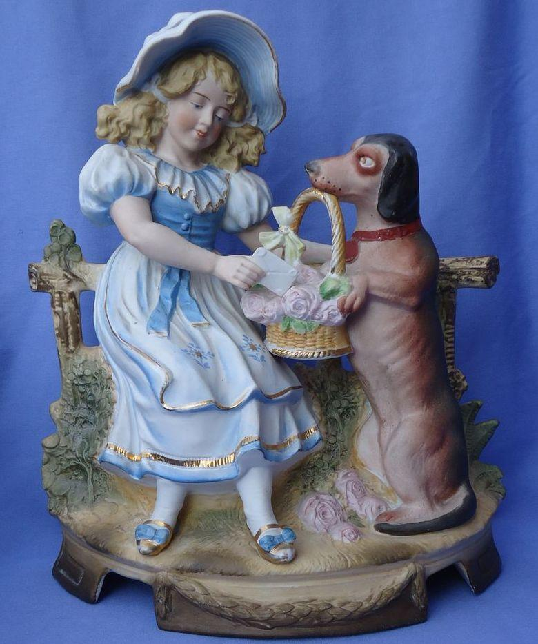 "11"" Victorian figurine girl w Dachshund Blood hound dog"