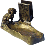 bronze Dachshund match box hldr ashtray Austria