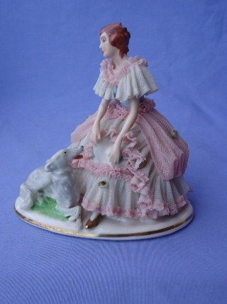 lovely lace lady with  Borzoi  Dresden Germany 5""
