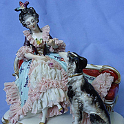 "vintage Dresden black/white BORZOI w lace lady 7"" Germany"