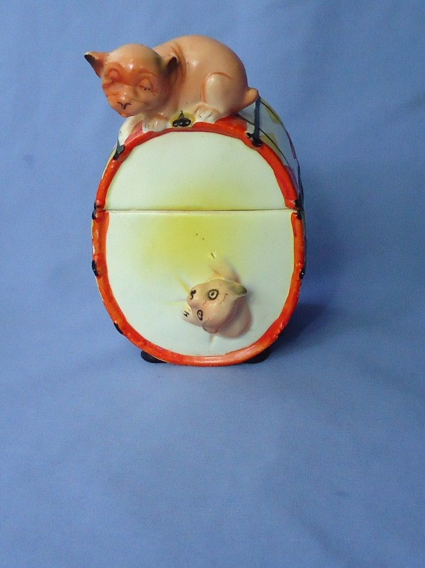 1930 art deco tobacco jar Bonzo  circus drum Germany