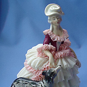 vintage Dresden lace lady with Borzoi Germany