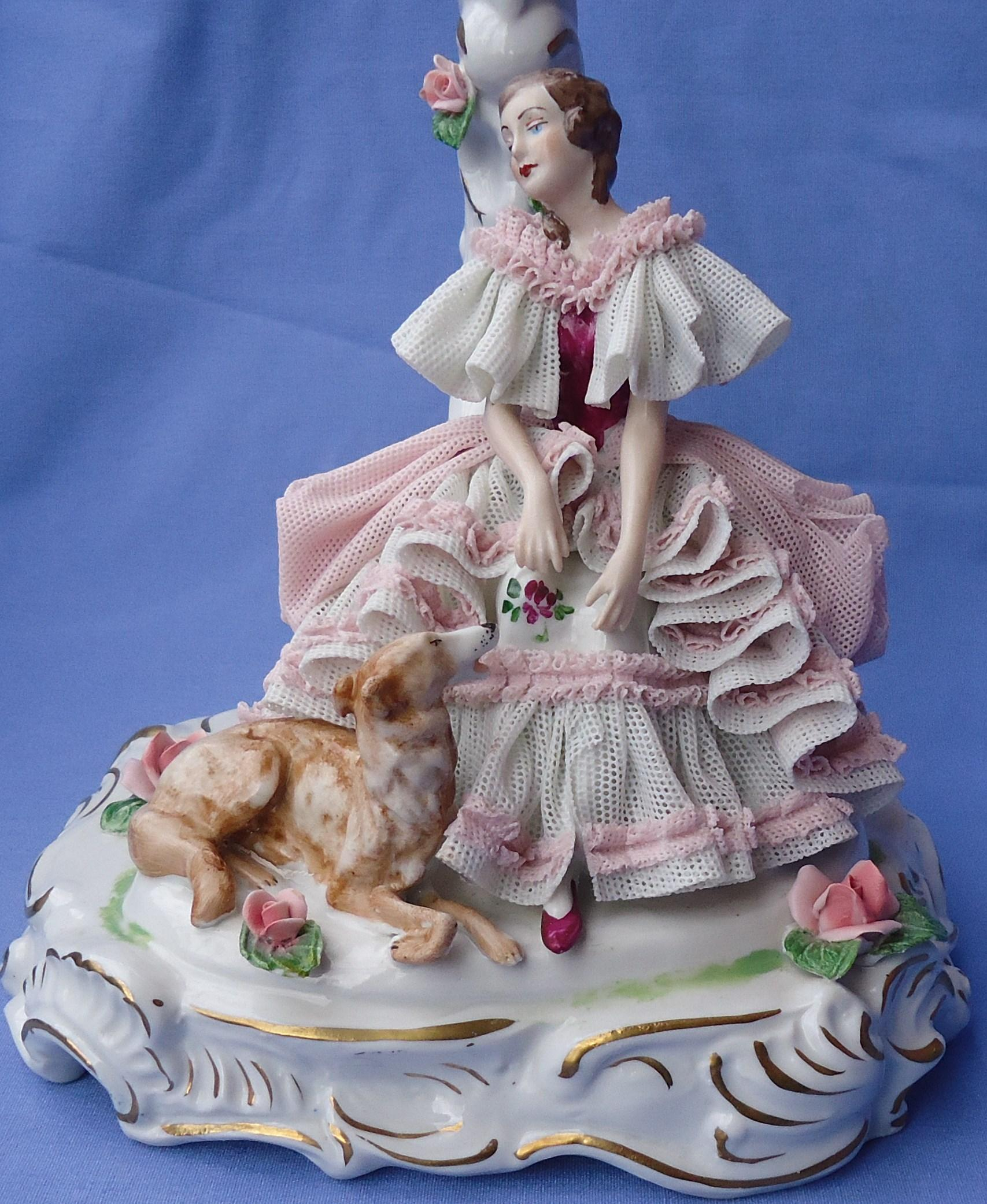 1950 Dresden lace lady & Borzoi lamp Germany 9""