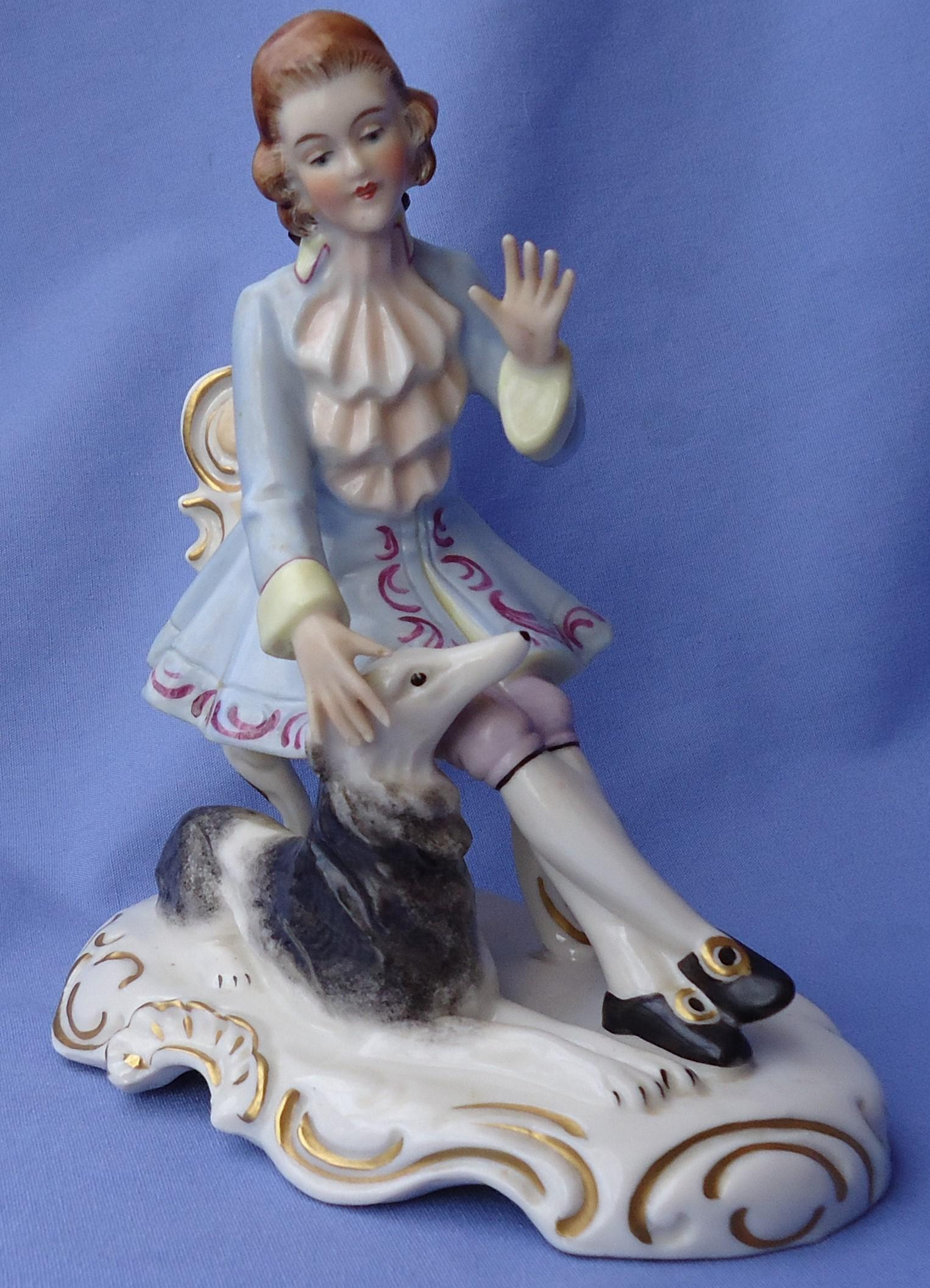"""vintage Dresden prince with Borzoi Germany 6"""""""