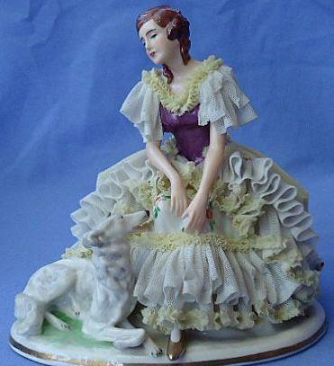 vintage Dresden Germany lace lady & Borzoi
