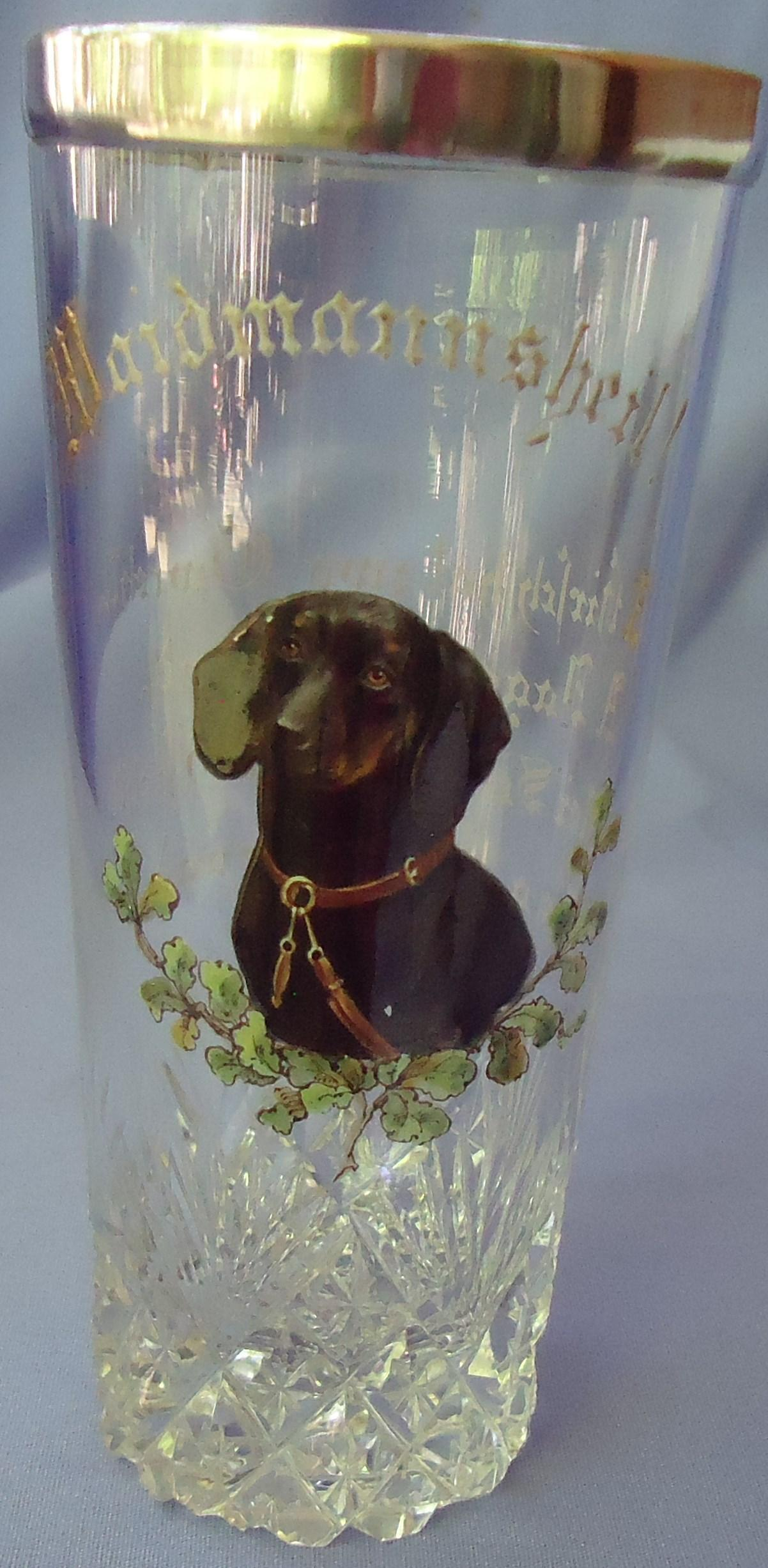 antique  black tan Dachshund German hunt glass 6""
