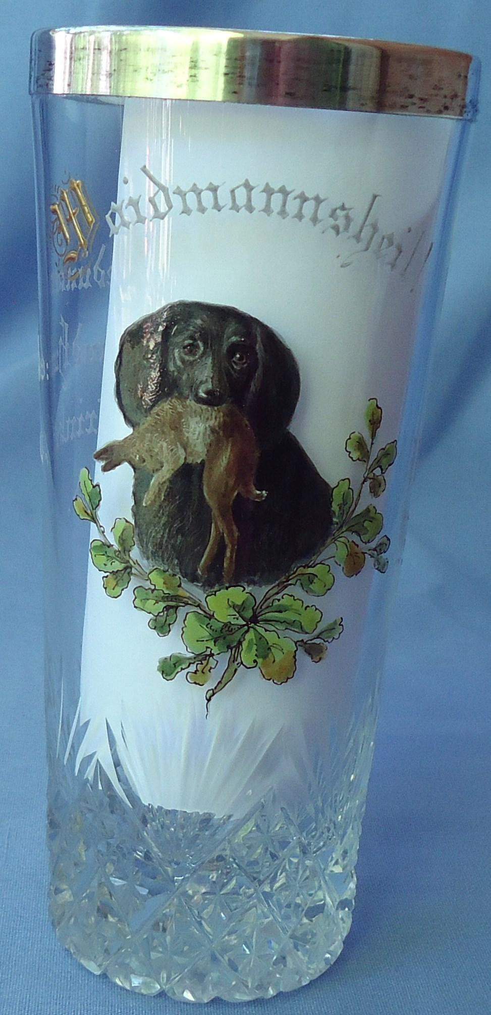 """antique wire long haired  Dachshund  w rabbit German cut glass 6"""""""