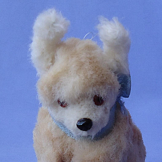"Fur terrier salon dog French fashion doll Germany 4"" label"
