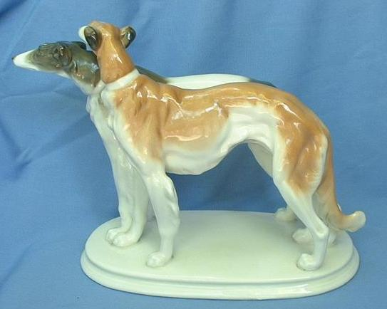 rare color Ens Volkstedt Germany Borzoi pair 10""