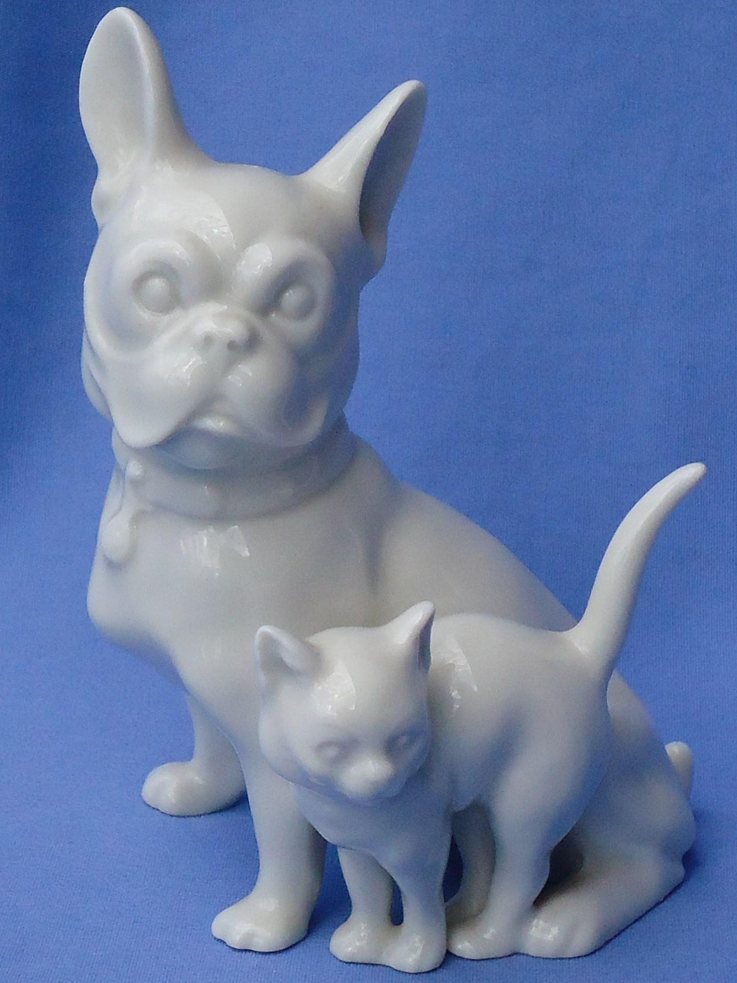 1940s French Bulldog w cat Germany 6""