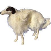 "Antique fur Borzoi  7"" salon dog Kestner Jumeau fashion doll Germany label"