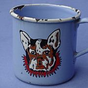 vintage enamel French Bulldog cup Germany