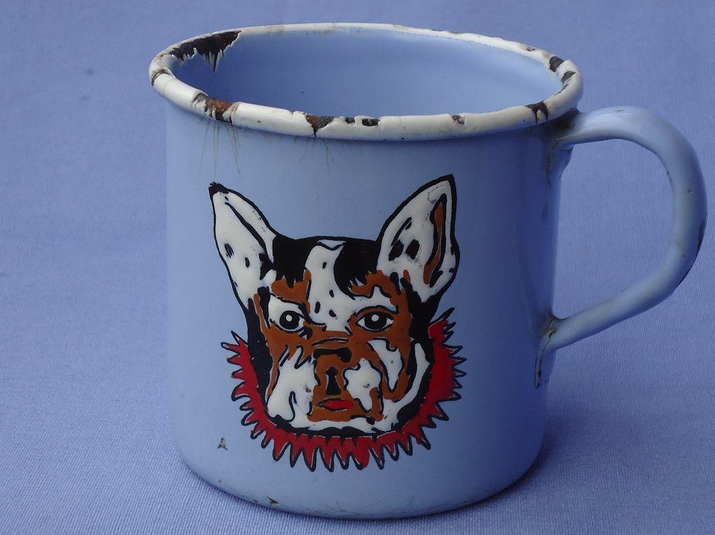 vintage enamel French Bulldog cup Germany