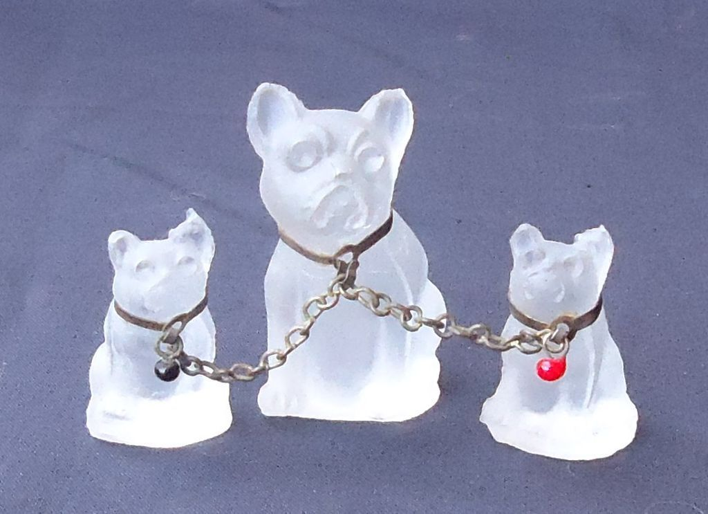 1920s French Bulldogs frosted glass perfume dangles charms marked Czechoslovakia