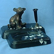 1930s French bulldog desk set pen holder