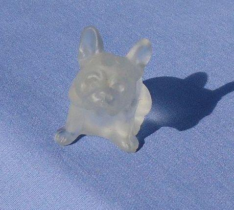 "white frosted glass French Bulldog 2"" perfume top Czechoslovakia"