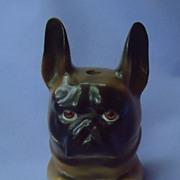 rare 19c inkwell French Bulldog Germany 4""
